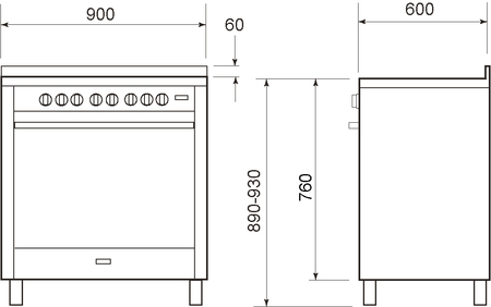 Technical drawing BI ENERGY COOKER - The oven works on gas or electricity - IT965GGEI2 - Glem Gas