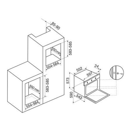 Disegno tecnico Forno multifunzione elettrico e a gas ventilato - GFTV25SA-S2 - Glem Gas