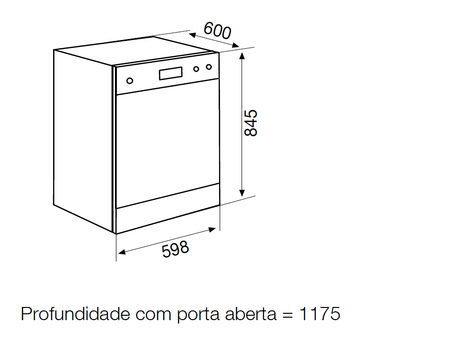 Desenho técnico Máquina de lavar louça de linha livre - GDF622NWH - Glem Gas