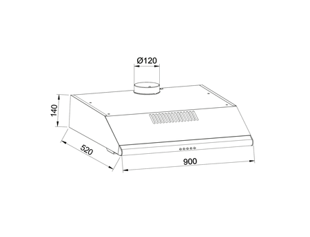 Disegno tecnico Cappa Standard 90 cm - GHC931BK - Glem Gas