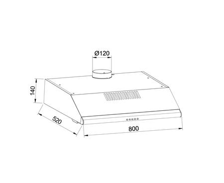 Disegno tecnico Cappa Standard 80 cm - GHC831IX - Glem Gas