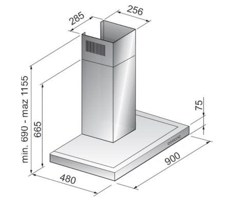 Disegno tecnico Cappa Wall 90 cm - GHB98IXN - Glem Gas