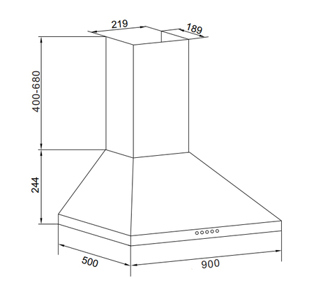Disegno tecnico Cappa Wall 90 cm - GHP963IX - Glem Gas