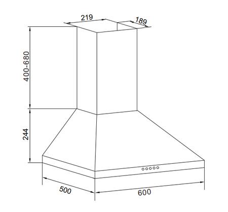 Disegno tecnico Cappa Wall 60 cm - GHP663IX - Glem Gas