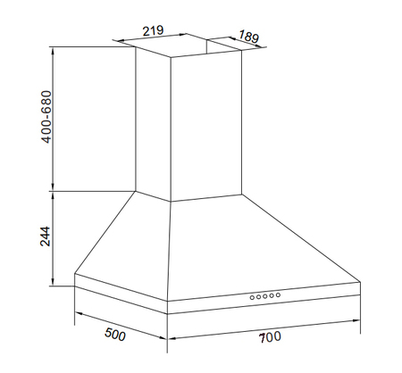 Disegno tecnico Cappa Wall 70 cm - GHP745IX - Glem Gas