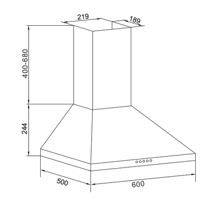 Disegno tecnico Cappa Wall 60 cm - GHP645BK - Glem Gas