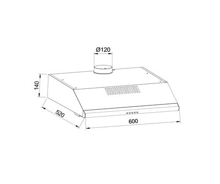 Disegno tecnico Cappa standard 60 cm - GHC640IX - Glem Gas
