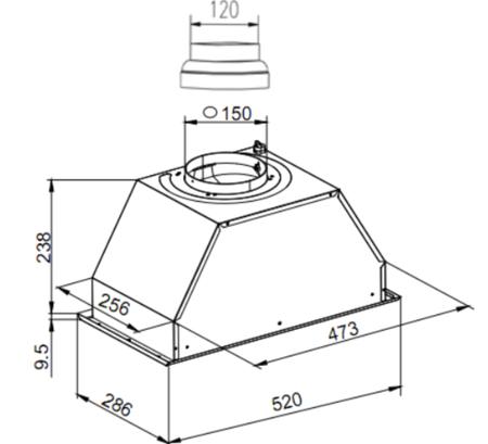 Dessin technique Groupe filtrant 52 cm inox - GHF545IX - Glem Gas