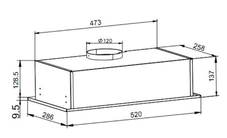 Dessin technique Groupe filtrant 52 cm silver - GHF527SI - Glem Gas