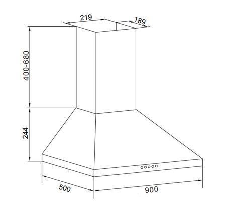 Dessin technique HOTTE MURALE PYRAMIDE INOX 90 CM - GHP945IX - Glem Gas