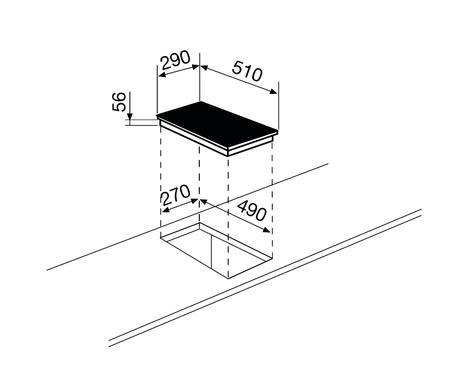 Disegno tecnico Piano cottura a induzione - GTI322 - Glem Gas