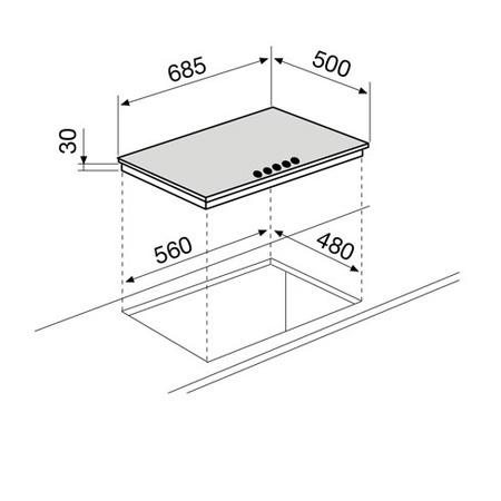 Technical drawing Gas Hob 70 cm - GT755IX - Glem Gas