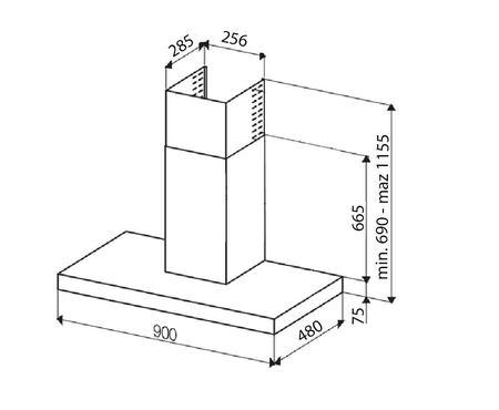 Desenho técnico Chaminé de parede - GHB98IXN - Glem Gas