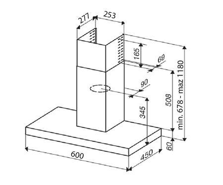 Desenho técnico Chaminé de parede - GHB681IX - Glem Gas