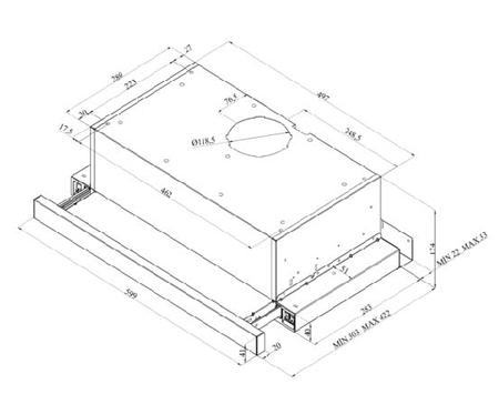 Desenho técnico Exaustor telescópico - GHT6200IXN - Glem Gas