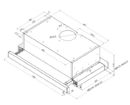 Desenho técnico Exaustor telescópico - GHT6200WHN - Glem Gas