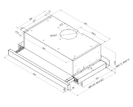 Desenho técnico Exaustores telescópicos - GHT600EIX - Glem Gas
