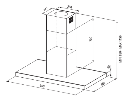 Technical drawing Isle hood 90 cm - GHIB98IX - Glem Gas