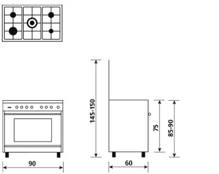 Disegno tecnico Forno multifunzione elettrico termoventilato - SB965MBK - Glem Gas