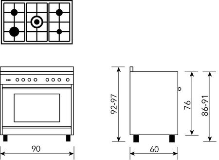 Technical drawing Stainless Steel 90cm Gas Cooker - GA965GGX - Glem Gas