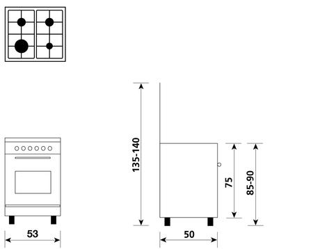 Disegno tecnico Forno Gas + Grill Elettrico       - A554GI - Glem Gas