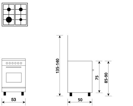 Disegno tecnico Forno Gas + Grill Elettrico        - A554GX - Glem Gas