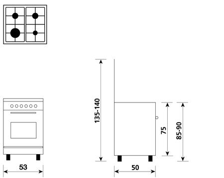 Disegno tecnico Forno Gas + Grill Elettrico + Ventola  - A554VX - Glem Gas