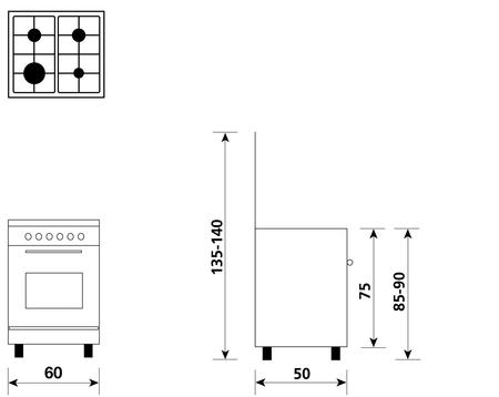 Disegno tecnico Forno Elettrico Multifunzione 6 funzioni - A654MX6 - Glem Gas