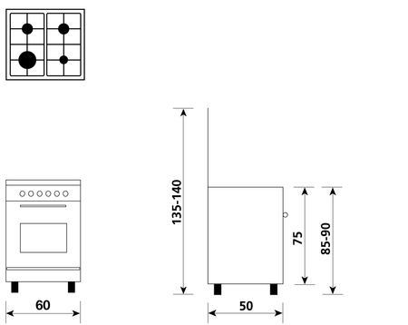 Disegno tecnico Forno Gas + Grill Elettrico + Ventola - A654VX - Glem Gas