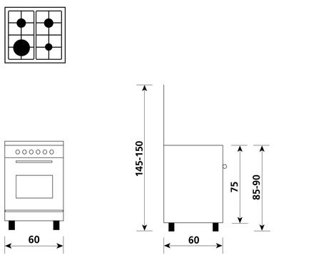 Disegno tecnico Forno Gas + Grill Elettrico    - A664GC - Glem Gas