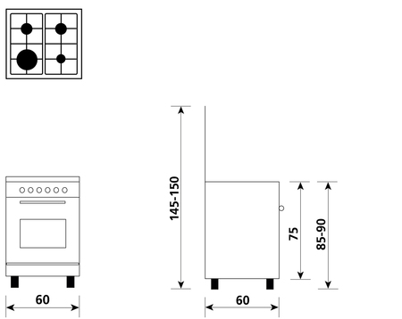 Disegno tecnico Forno Gas + Grill Elettrico     - A664GI - Glem Gas