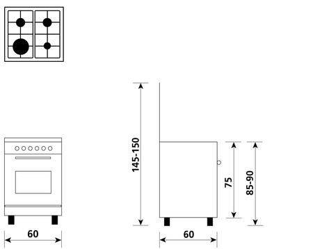 Disegno tecnico Forno Elettrico Multifunzione 6 funzioni  - A664MI6 - Glem Gas