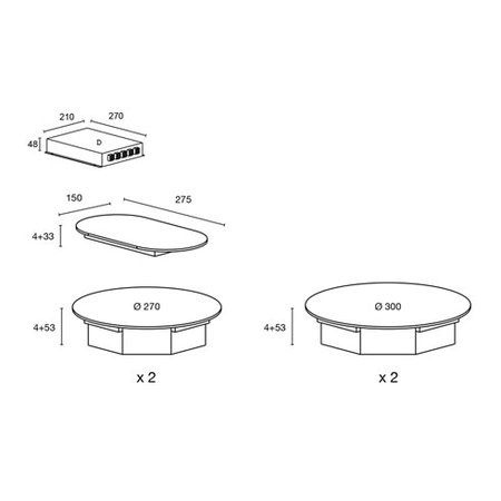 Desenho técnico Nómada - Placas de indução modulares - AGTIN4BK - Glem Gas
