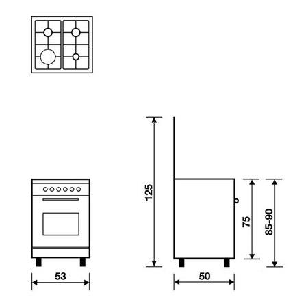 Technical drawing Gas oven with Gas grill - AL5511GI - Glem Gas
