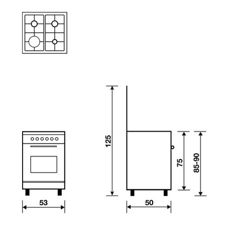 Technical drawing Gas oven with Gas grill  - AL5511GX - Glem Gas