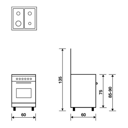 Technical drawing Static Oven with electric grill - AL6609EI - Glem Gas