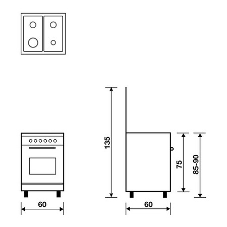 Technical drawing Static Oven with electric grill - AL6609EX - Glem Gas