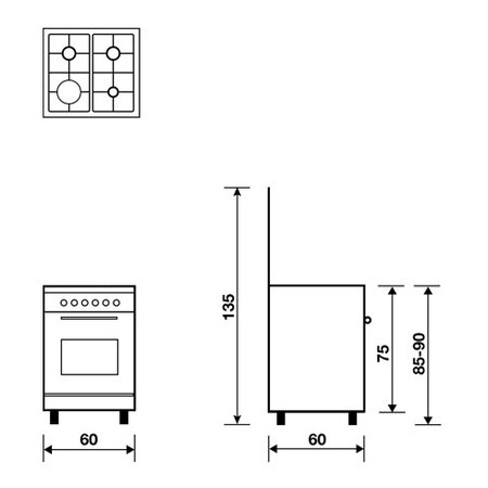 Technical drawing Gas oven with gas grill - AL6611GI - Glem Gas