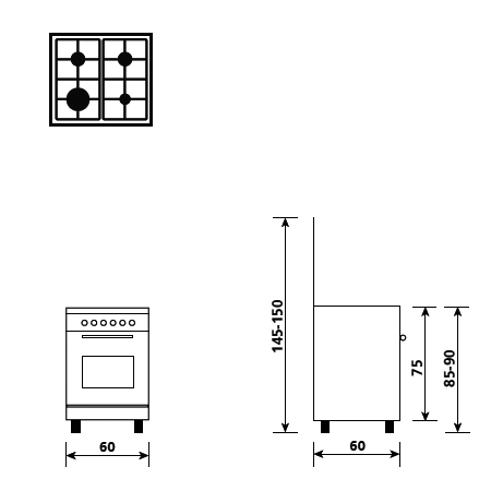 Technical drawing Gas oven with electric grill - AL6611MX - Glem Gas