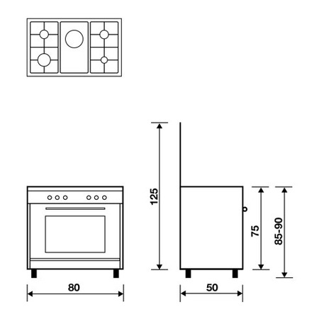 Technical drawing Gas oven with Gas grill - AL8516GI - Glem Gas