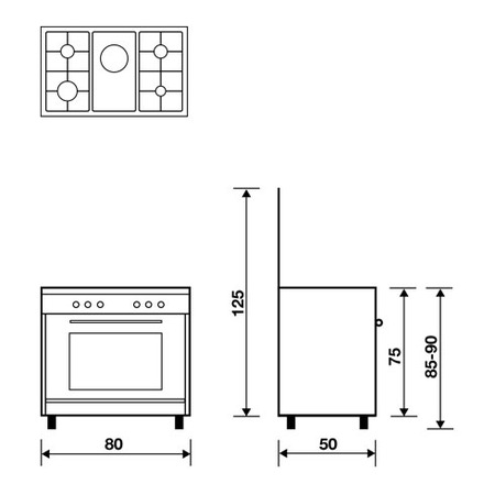 Technical drawing Gas oven with Gas grill - AL8516GX - Glem Gas