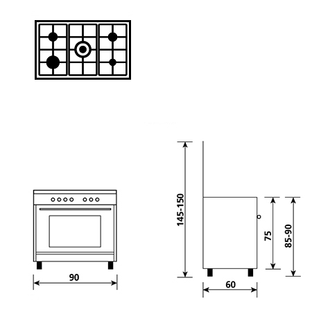 Technical drawing Electric oven with electric grill - AL9612EI - Glem Gas