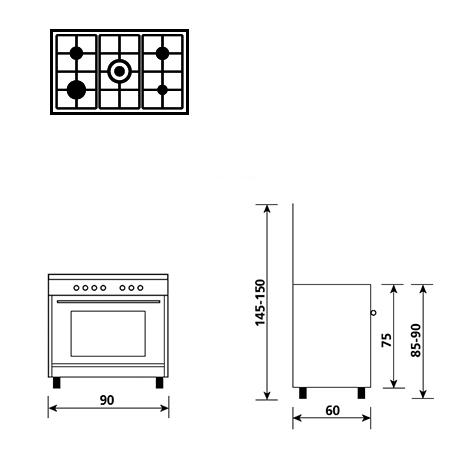 Diseño técnico Horno eléctrico - grill eléctrico - AL9612EI - Glem Gas