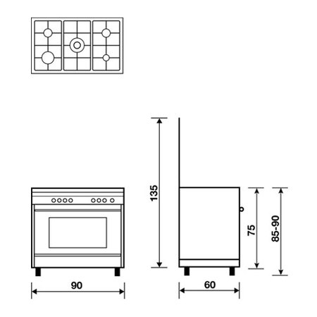 Technical drawing Gas oven with electric grill - AL9612MX - Glem Gas
