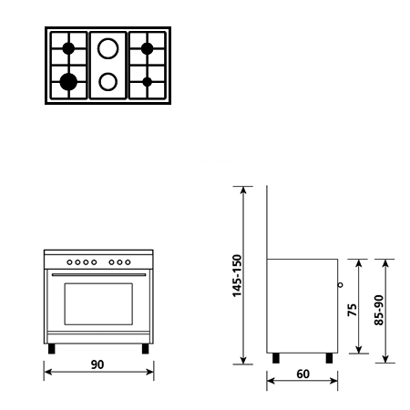 Technical drawing Gas oven with Gas grill - AL9621GI - Glem Gas