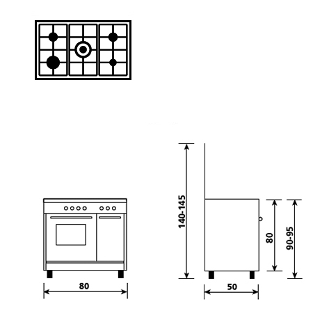 Diseño técnico Horno a gas - grill a gas - AP8512GI - Glem Gas