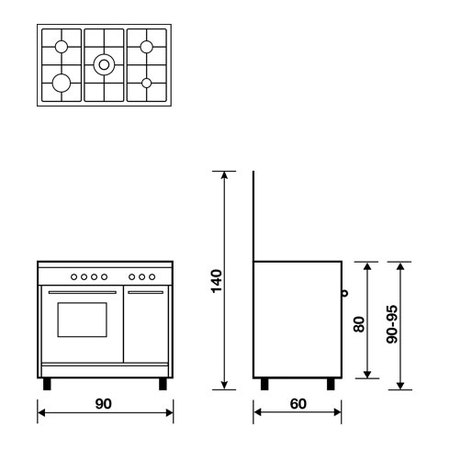 Technical drawing Gas oven with Gas grill - AP9612GX - Glem Gas