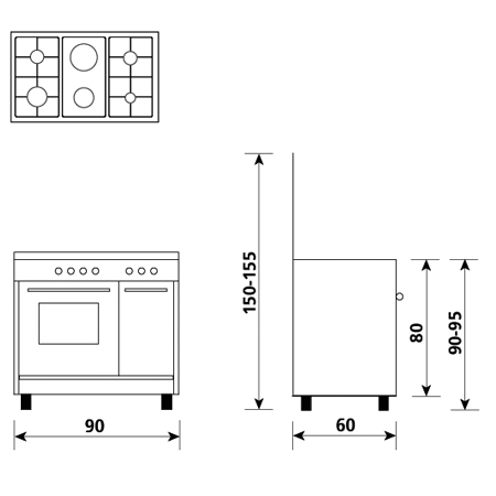 Technical drawing Gas oven with gas grill - AP9621GI - Glem Gas
