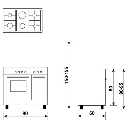Diseño técnico Horno a gas - grill a gas - AP9621GX - Glem Gas