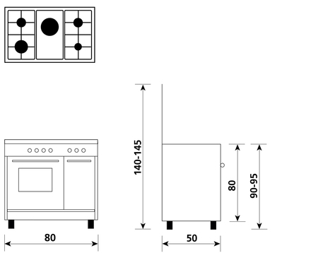 Disegno tecnico Forno Elettrico + Grill Elettrico - AR856EI - Glem Gas